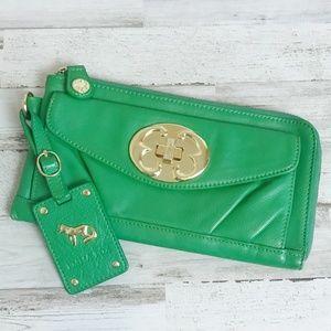 Emma Fox   Green Leather Wristlet Clutch